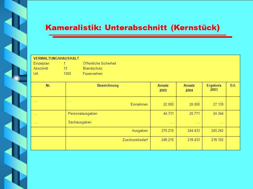 VERWALTUNGSHAUSHALT Einzelplan 1 Öffentliche Sicherheit Abschnitt 13 Brandschutz UA 1300 Feuerwehren Nr.BezeichnungAnsatz 2005 Ansatz 2004 Ergebnis 20