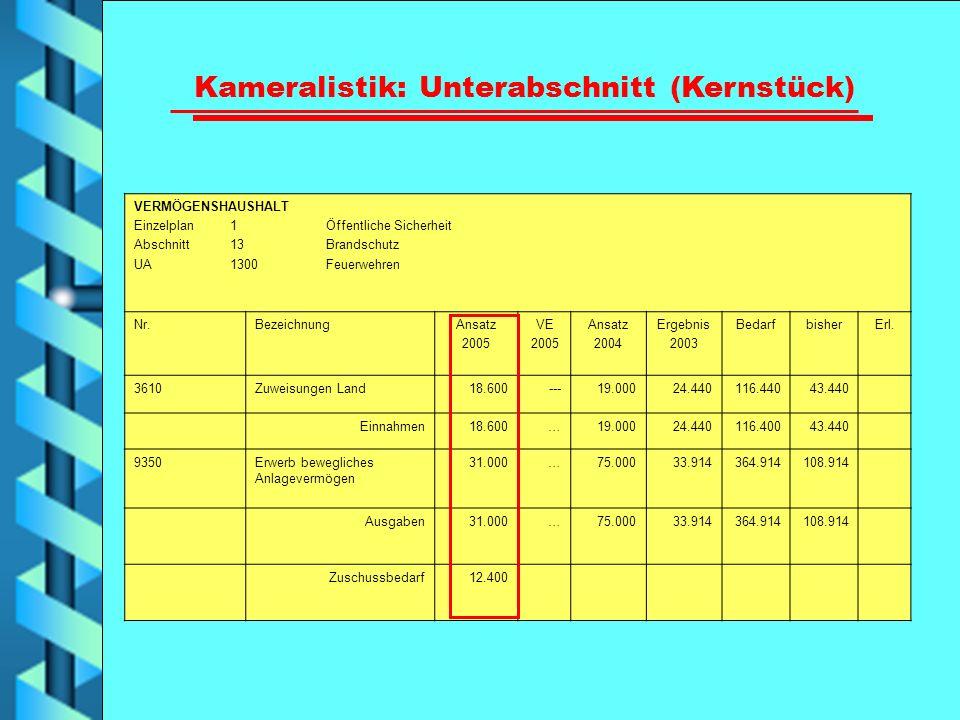 VERMÖGENSHAUSHALT Einzelplan 1 Öffentliche Sicherheit Abschnitt 13 Brandschutz UA 1300 Feuerwehren Nr.BezeichnungAnsatz 2005 VE 2005 Ansatz 2004 Ergeb