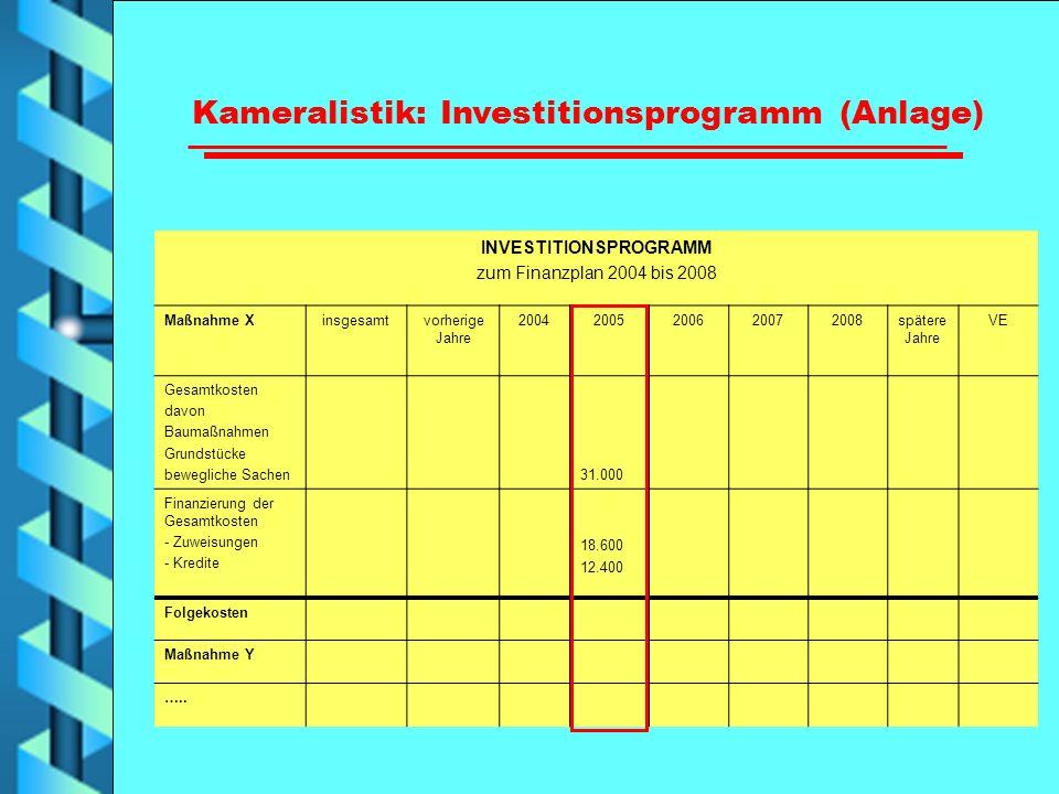 Kameralistik: Investitionsprogramm (Anlage) INVESTITIONSPROGRAMM zum Finanzplan 2004 bis 2008 Maßnahme Xinsgesamtvorherige Jahre 20042005200620072008s