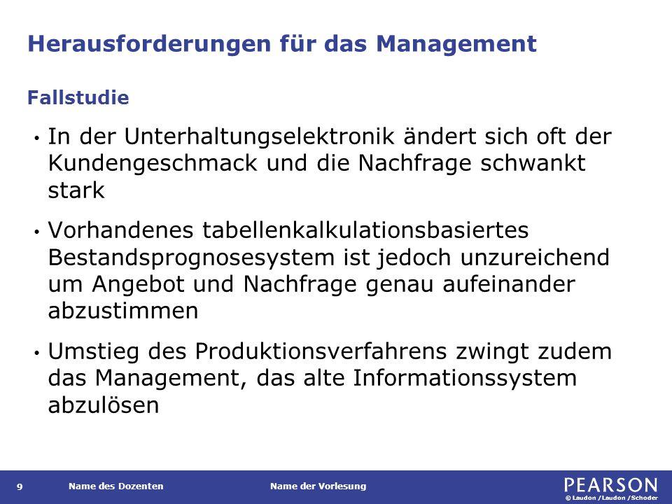 © Laudon /Laudon /Schoder Name des DozentenName der Vorlesung Herausforderungen für das Management 9 In der Unterhaltungselektronik ändert sich oft de