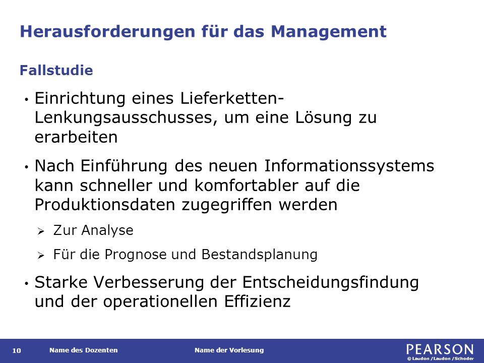© Laudon /Laudon /Schoder Name des DozentenName der Vorlesung Herausforderungen für das Management 10 Einrichtung eines Lieferketten- Lenkungsausschus