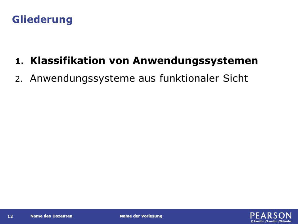 © Laudon /Laudon /Schoder Name des DozentenName der Vorlesung Gliederung 12 1. Klassifikation von Anwendungssystemen 2. Anwendungssysteme aus funktion