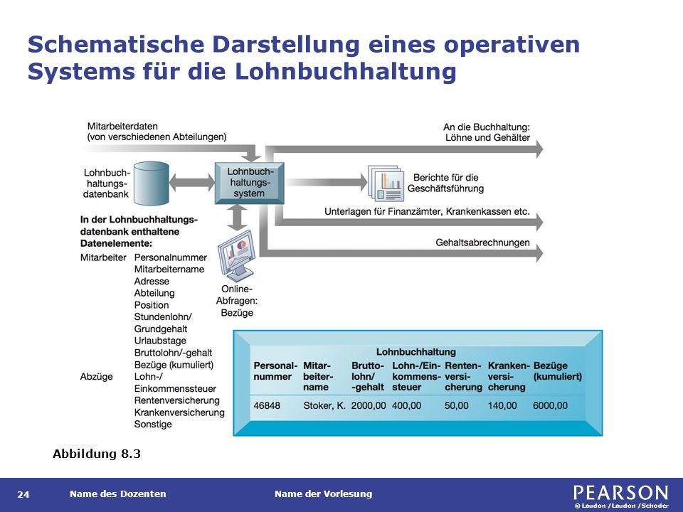 © Laudon /Laudon /Schoder Name des DozentenName der Vorlesung Schematische Darstellung eines operativen Systems für die Lohnbuchhaltung 24 Abbildung 8