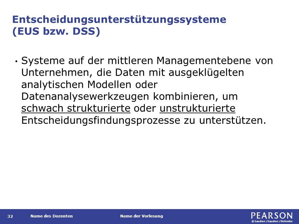 © Laudon /Laudon /Schoder Name des DozentenName der Vorlesung Entscheidungsunterstützungssysteme (EUS bzw. DSS) 32 Systeme auf der mittleren Managemen