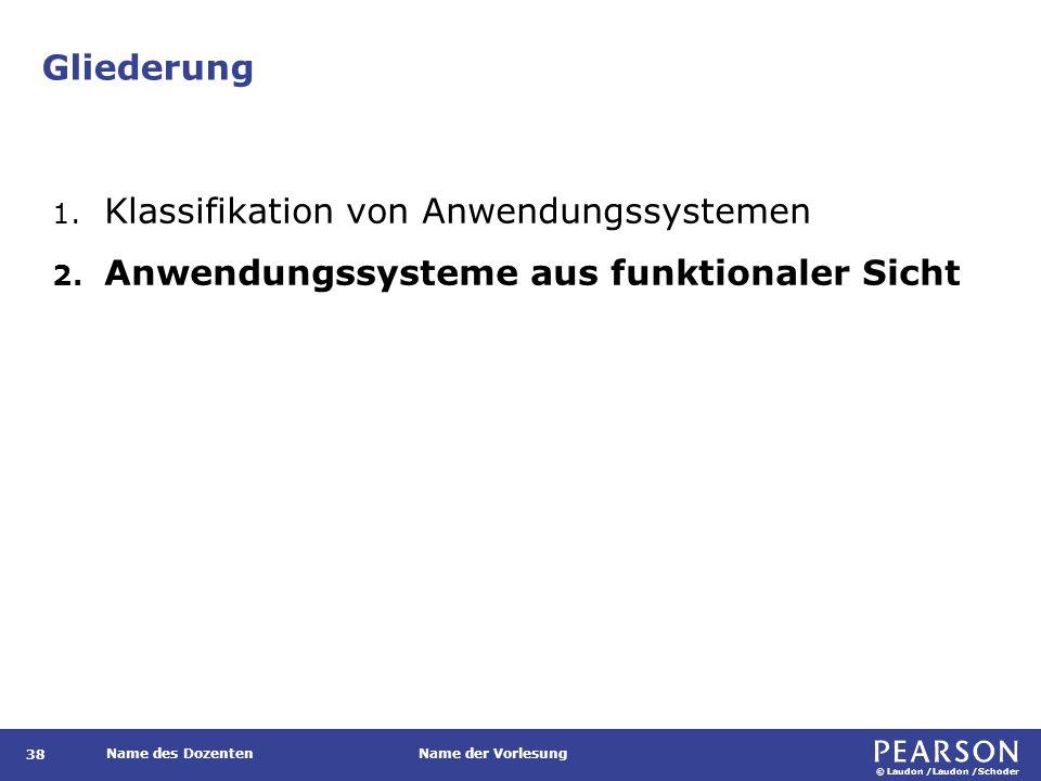 © Laudon /Laudon /Schoder Name des DozentenName der Vorlesung Gliederung 38 1. Klassifikation von Anwendungssystemen 2. Anwendungssysteme aus funktion