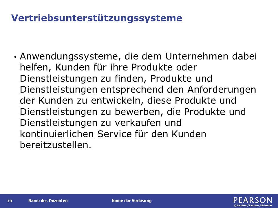 © Laudon /Laudon /Schoder Name des DozentenName der Vorlesung Vertriebsunterstützungssysteme 39 Anwendungssysteme, die dem Unternehmen dabei helfen, K