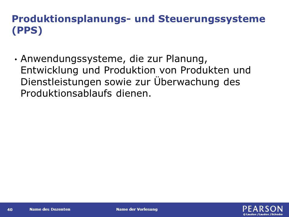 © Laudon /Laudon /Schoder Name des DozentenName der Vorlesung Produktionsplanungs- und Steuerungssysteme (PPS) 40 Anwendungssysteme, die zur Planung,