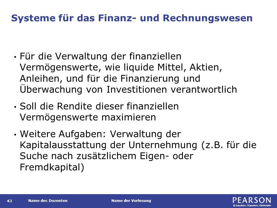 © Laudon /Laudon /Schoder Name des DozentenName der Vorlesung Systeme für das Finanz- und Rechnungswesen 43 Für die Verwaltung der finanziellen Vermög