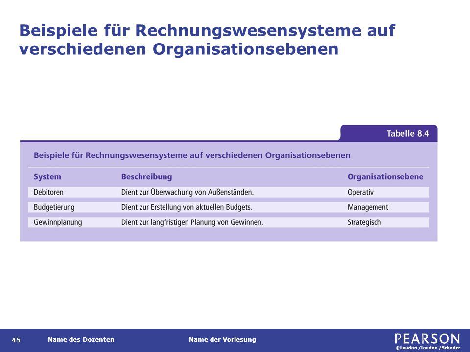 © Laudon /Laudon /Schoder Name des DozentenName der Vorlesung Beispiele für Rechnungswesensysteme auf verschiedenen Organisationsebenen 45