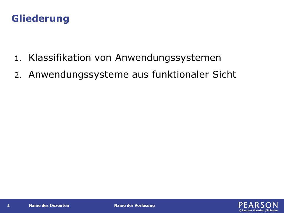© Laudon /Laudon /Schoder Name des DozentenName der Vorlesung Gliederung 4 1. Klassifikation von Anwendungssystemen 2. Anwendungssysteme aus funktiona