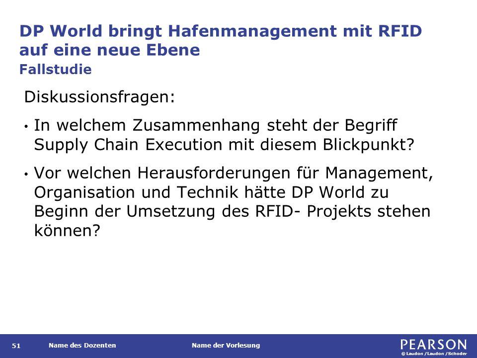 © Laudon /Laudon /Schoder Name des DozentenName der Vorlesung DP World bringt Hafenmanagement mit RFID auf eine neue Ebene 51 Diskussionsfragen: In we