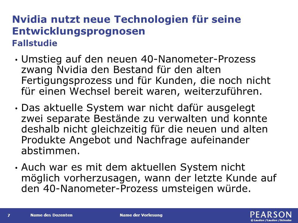 © Laudon /Laudon /Schoder Name des DozentenName der Vorlesung Nvidia nutzt neue Technologien für seine Entwicklungsprognosen 7 Umstieg auf den neuen 4