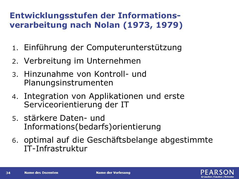 © Laudon /Laudon /Schoder Name des DozentenName der Vorlesung Entwicklungsstufen der Informations- verarbeitung nach Nolan (1973, 1979) 34 1.