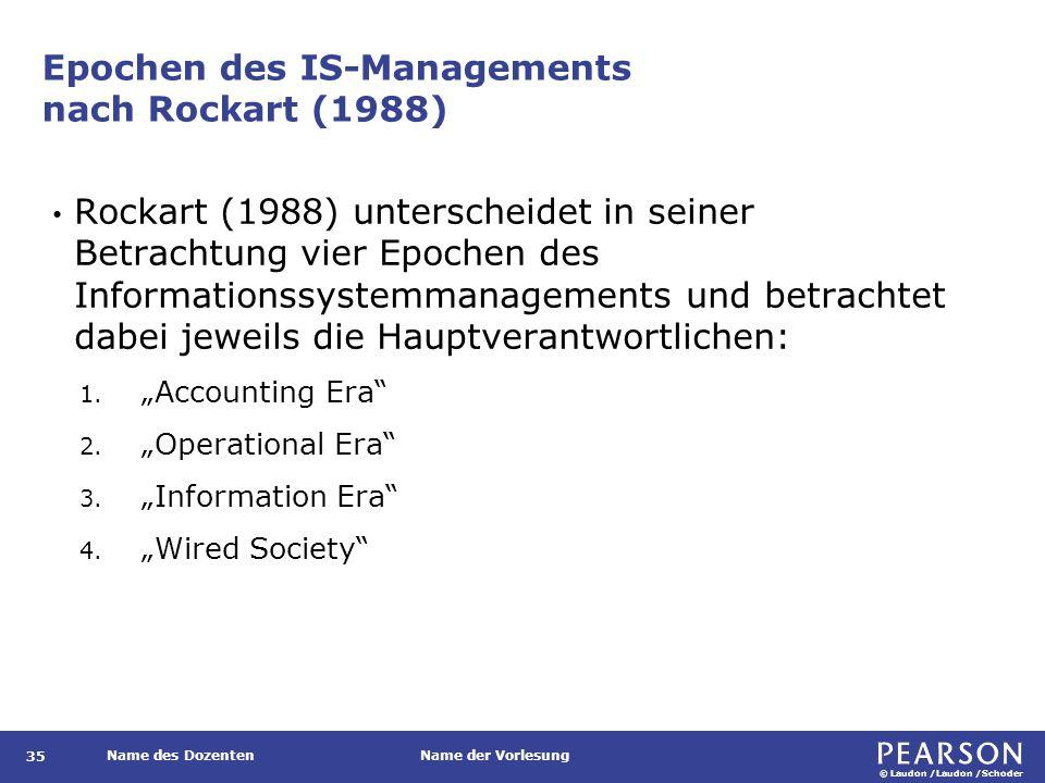 © Laudon /Laudon /Schoder Name des DozentenName der Vorlesung Epochen des IS-Managements nach Rockart (1988) 35 Rockart (1988) unterscheidet in seiner Betrachtung vier Epochen des Informationssystemmanagements und betrachtet dabei jeweils die Hauptverantwortlichen: 1.