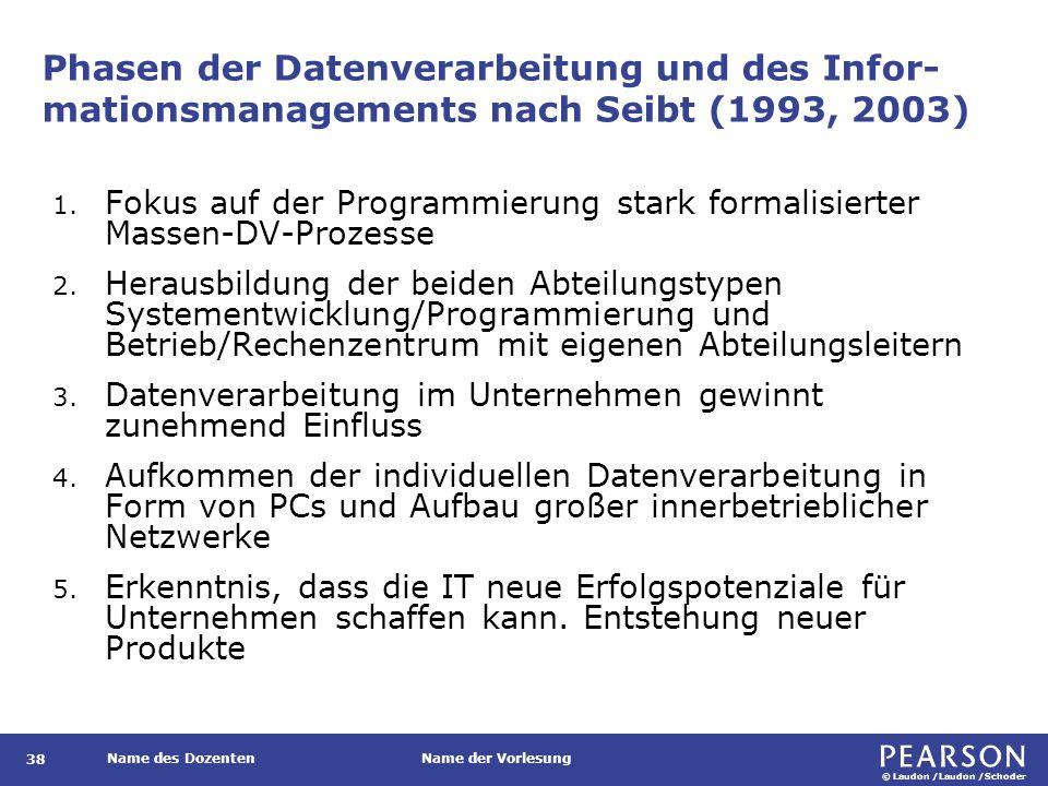 © Laudon /Laudon /Schoder Name des DozentenName der Vorlesung Phasen der Datenverarbeitung und des Infor- mationsmanagements nach Seibt (1993, 2003) 38 1.