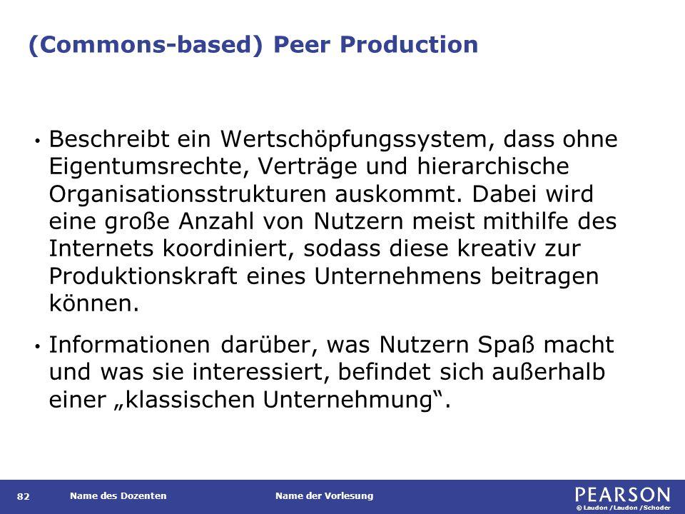 © Laudon /Laudon /Schoder Name des DozentenName der Vorlesung (Commons-based) Peer Production 82 Beschreibt ein Wertschöpfungssystem, dass ohne Eigentumsrechte, Verträge und hierarchische Organisationsstrukturen auskommt.
