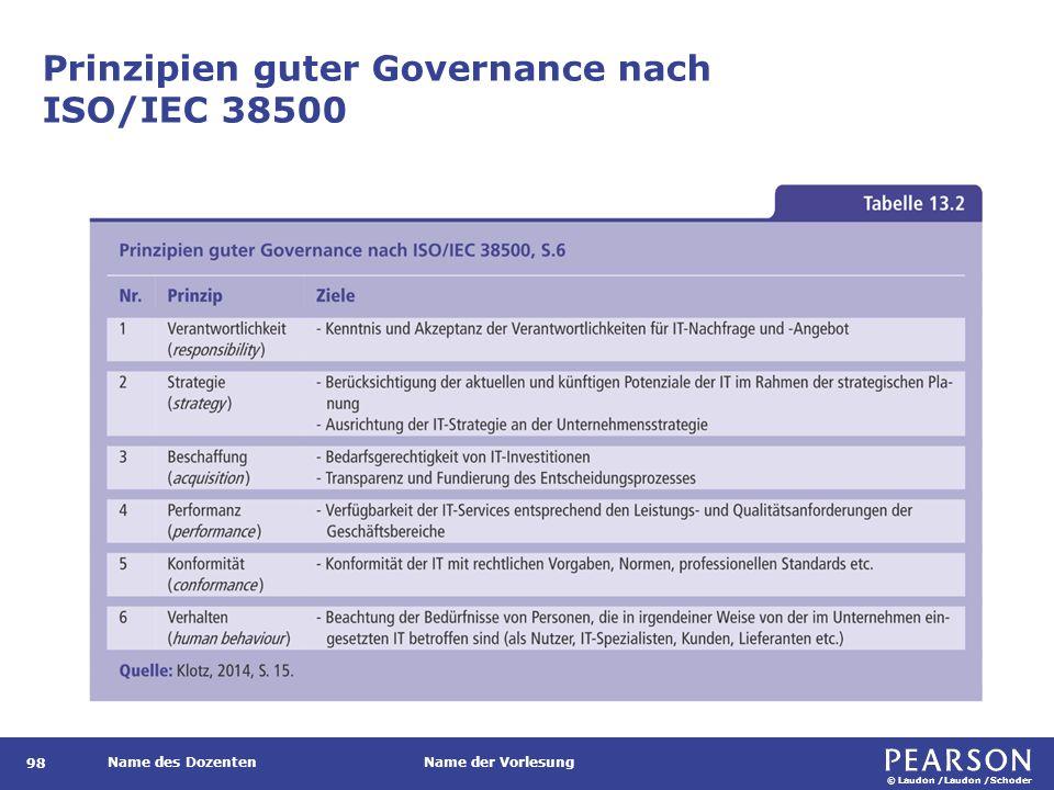 © Laudon /Laudon /Schoder Name des DozentenName der Vorlesung Prinzipien guter Governance nach ISO/IEC 38500 98