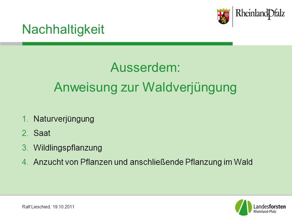 Ralf Lieschied, 19.10.2011 Nachhaltigkeit Ausserdem: Anweisung zur Waldverjüngung 1.Naturverjüngung 2.Saat 3.Wildlingspflanzung 4.Anzucht von Pflanzen