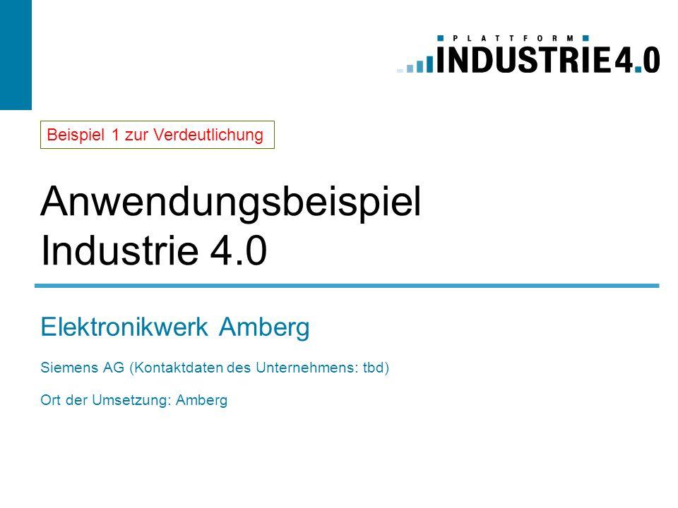 Anwendungsbeispiel Industrie 4.0 Elektronikwerk Amberg Siemens AG (Kontaktdaten des Unternehmens: tbd) Ort der Umsetzung: Amberg Beispiel 1 zur Verdeu