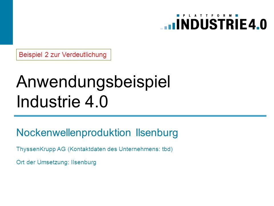 Anwendungsbeispiel Industrie 4.0 Nockenwellenproduktion Ilsenburg ThyssenKrupp AG (Kontaktdaten des Unternehmens: tbd) Ort der Umsetzung: Ilsenburg Be