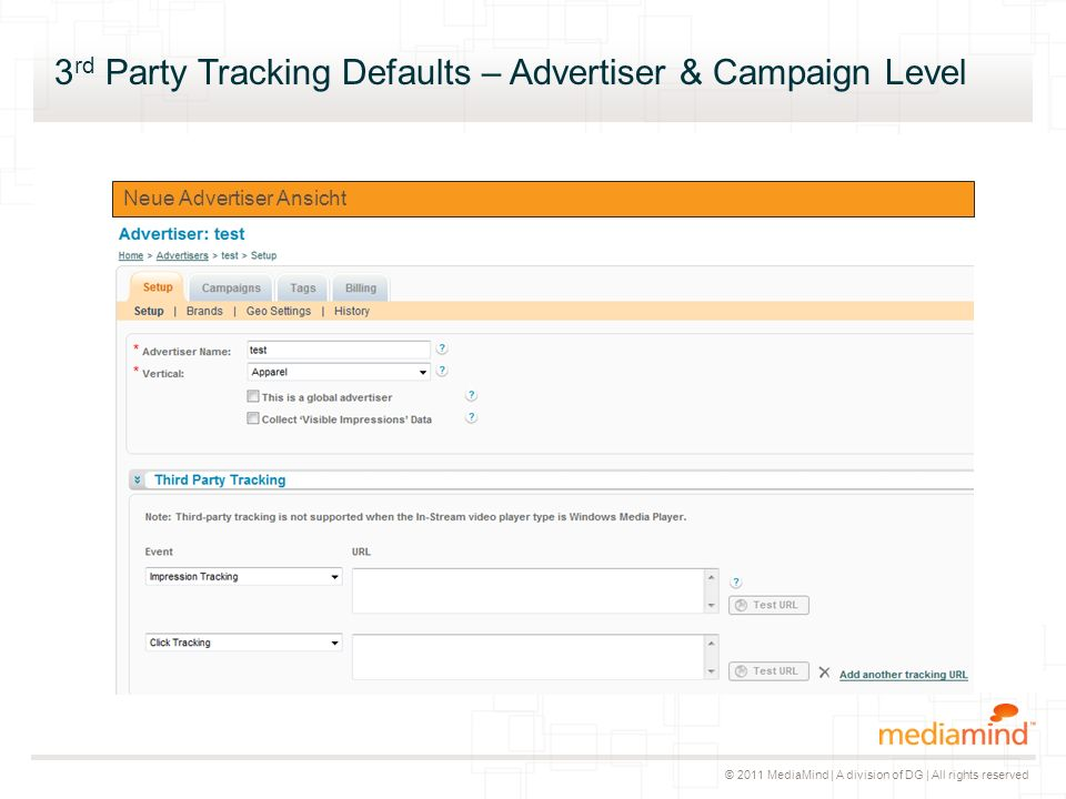 © 2011 MediaMind | A division of DG | All rights reserved Aktuelle Advertiser Ansicht Neue Advertiser Ansicht 3 rd Party Tracking Defaults – Advertiser & Campaign Level