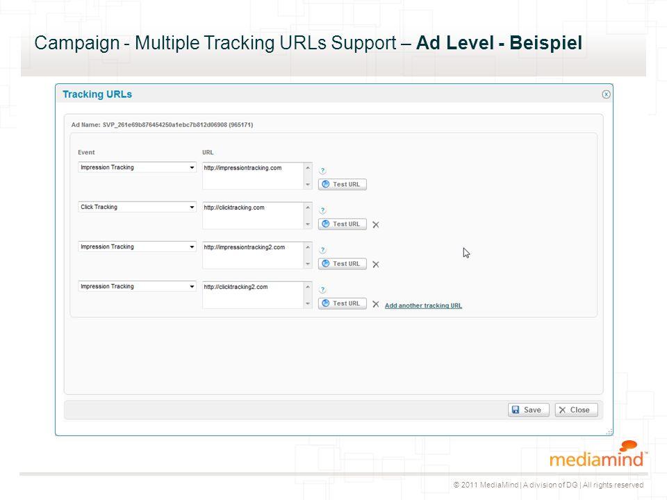 © 2011 MediaMind | A division of DG | All rights reserved Campaign - Multiple Tracking URLs Support – Ad Level - Beispiel ▸ Bisher hatte ein Ad bis zu