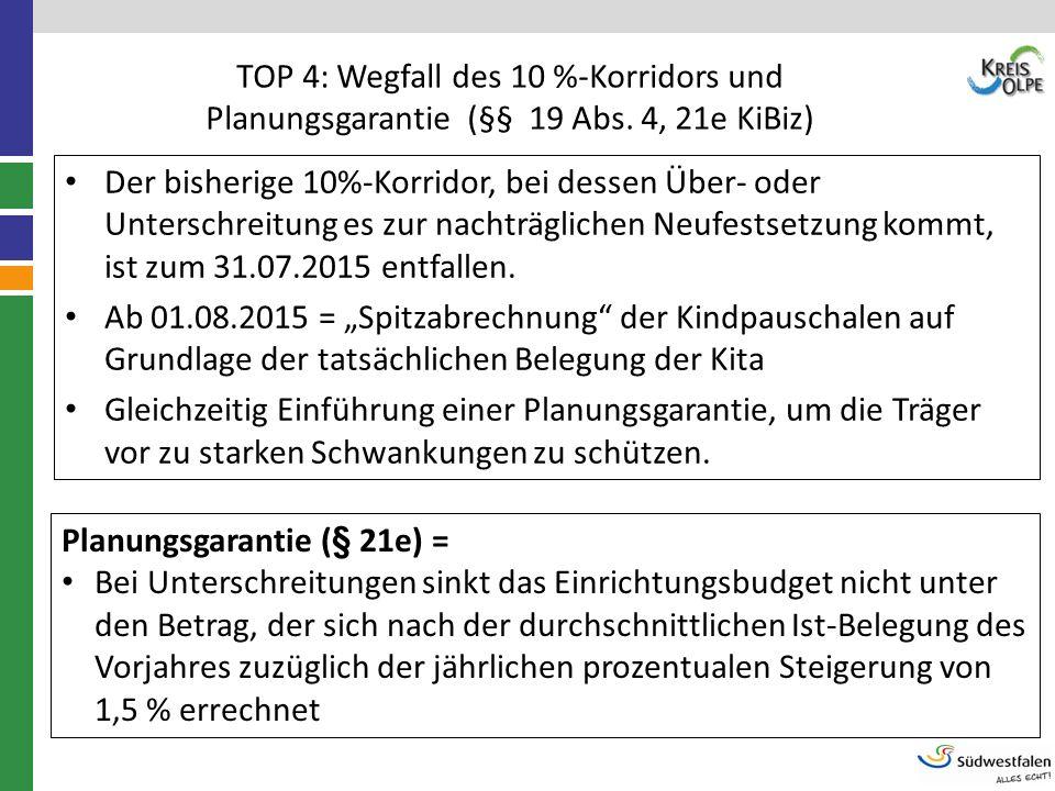TOP 4: Wegfall des 10 %-Korridors und Planungsgarantie (§§ 19 Abs. 4, 21e KiBiz) Der bisherige 10%-Korridor, bei dessen Über- oder Unterschreitung es