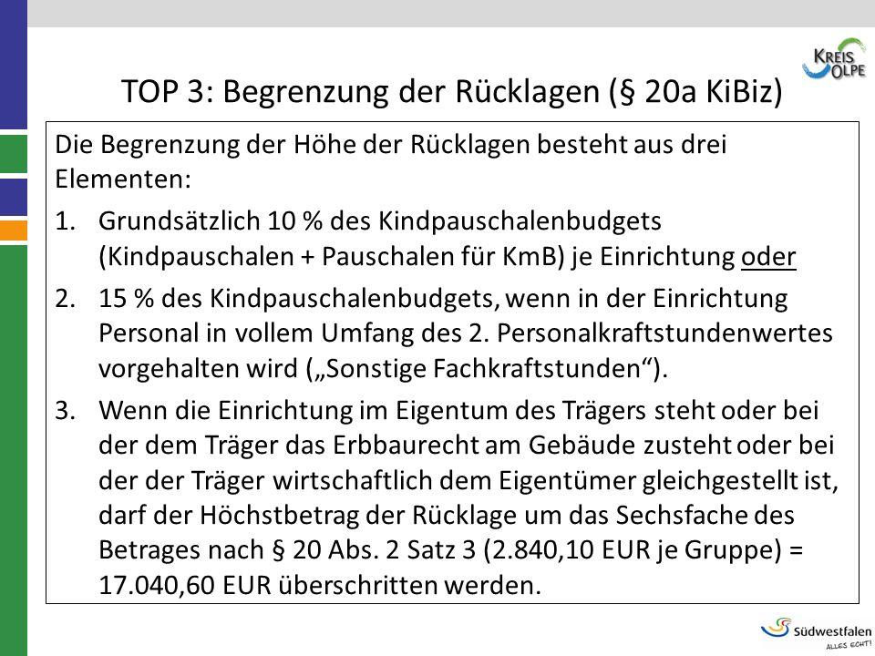 TOP 3: Begrenzung der Rücklagen (§ 20a KiBiz) Die Begrenzung der Höhe der Rücklagen besteht aus drei Elementen: 1.Grundsätzlich 10 % des Kindpauschale
