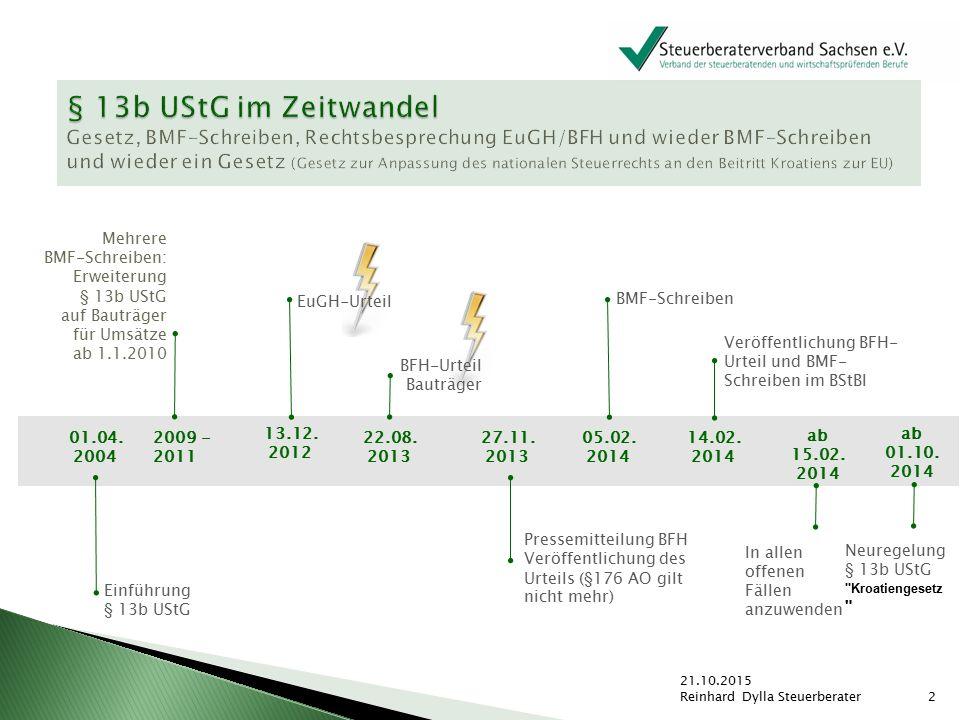 01.04. 2004 2009 - 2011 Einführung § 13b UStG Mehrere BMF-Schreiben: Erweiterung § 13b UStG auf Bauträger für Umsätze ab 1.1.2010 22.08. 2013 BFH-Urte