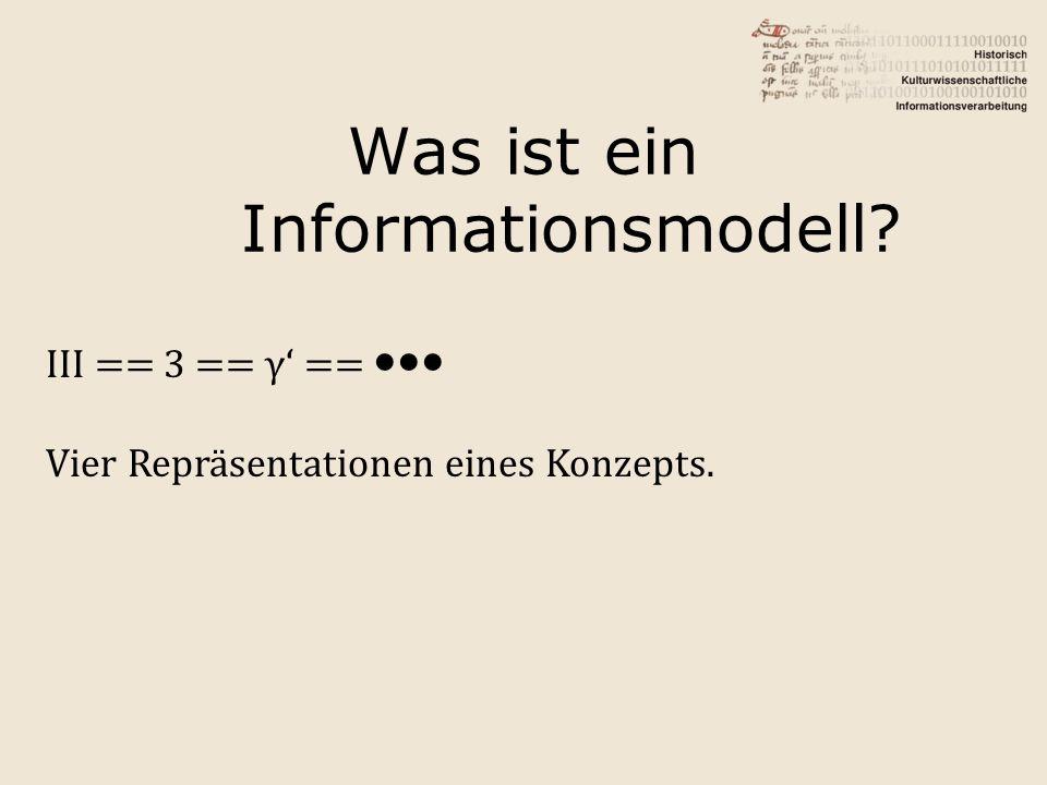 Was ist ein Informationsmodell? III == 3 == γ' == ●●● Vier Repräsentationen eines Konzepts.