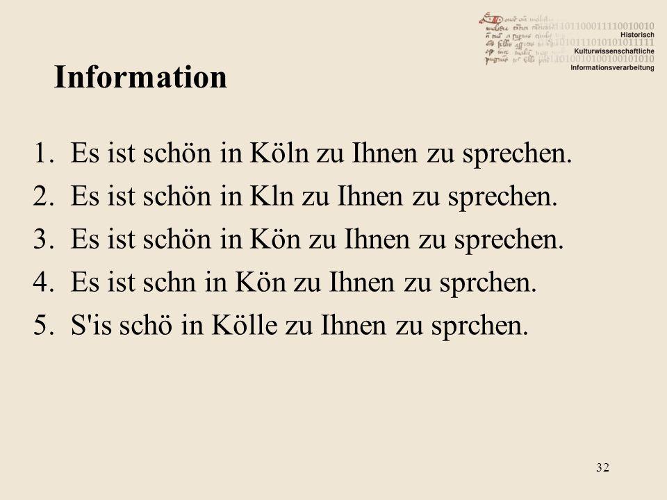1.Es ist schön in Köln zu Ihnen zu sprechen. 2.Es ist schön in Kln zu Ihnen zu sprechen. 3.Es ist schön in Kön zu Ihnen zu sprechen. 4.Es ist schn in