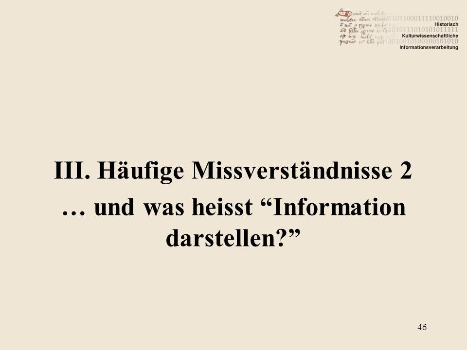 """III. Häufige Missverständnisse 2 … und was heisst """"Information darstellen?"""" 46"""