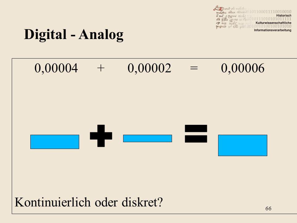 0,00004 + 0,00002 = 0,00006 Kontinuierlich oder diskret? Digital - Analog 66