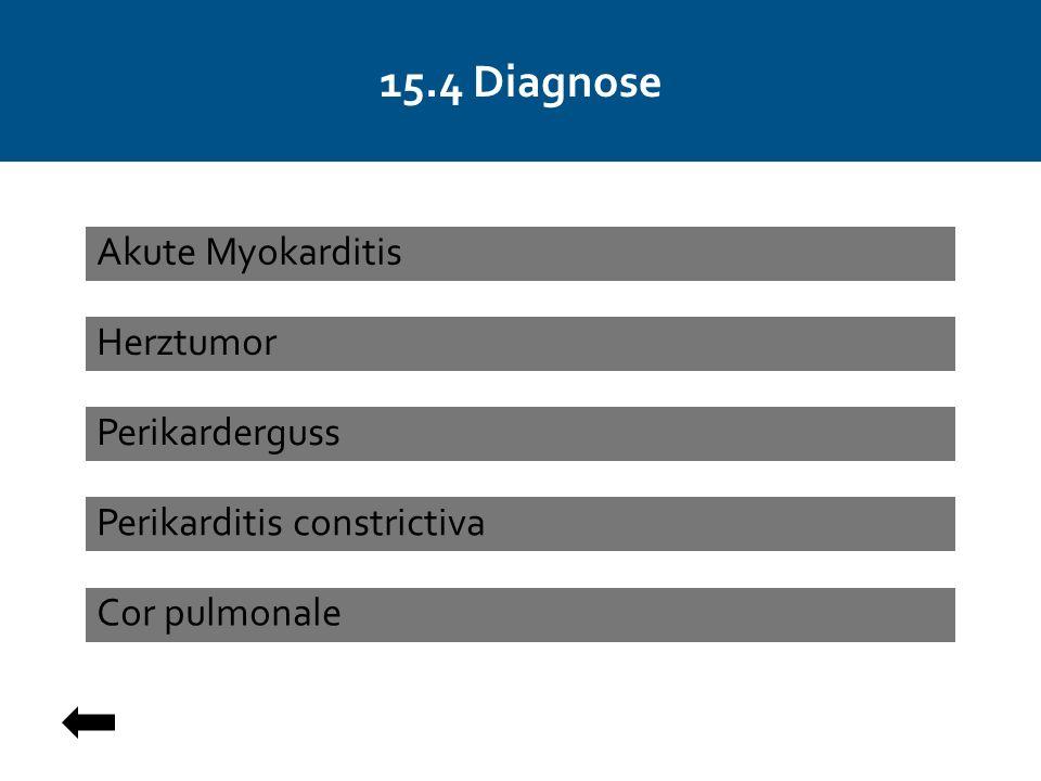15.4 Diagnose Herztumor Perikarderguss Cor pulmonale Akute Myokarditis Perikarditis constrictiva