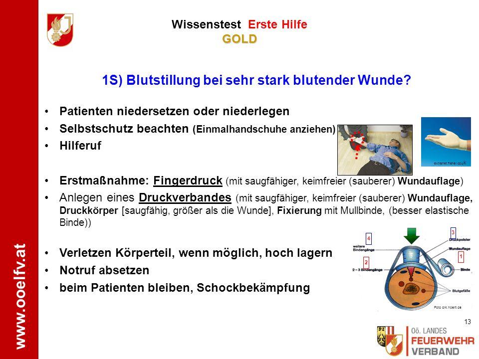 www.ooelfv.at GOLD Wissenstest Erste Hilfe GOLD Stabile Seitenlagerung 5B) Benenne und demonstriere die Lagerung bei Bewusstlosigkeit ! ÖJRK.bfk-wl.at
