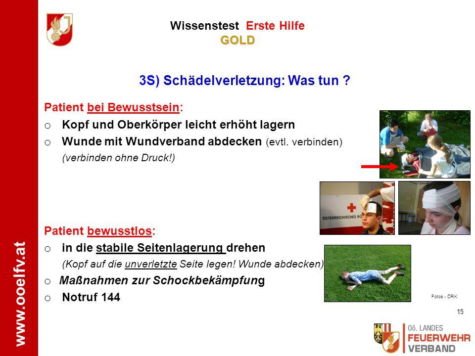www.ooelfv.at GOLD Wissenstest Erste Hilfe GOLD 1. Notruf 144, Defibrillator holen lassen (sofern in der Nähe) 2. Sofort gute und durchgehende Herzdru