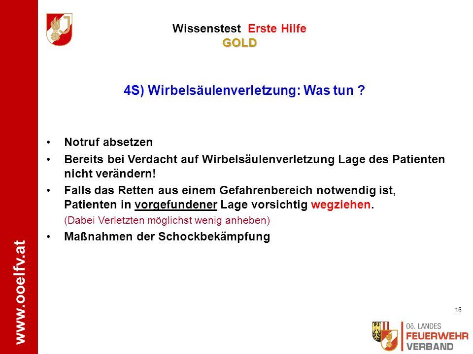 www.ooelfv.at GOLD Wissenstest Erste Hilfe GOLD ÖRK www.drk-engstingen-hohenstein.de Patient bei Bewusstsein: o Kopf und Oberkörper leicht erhöht lage