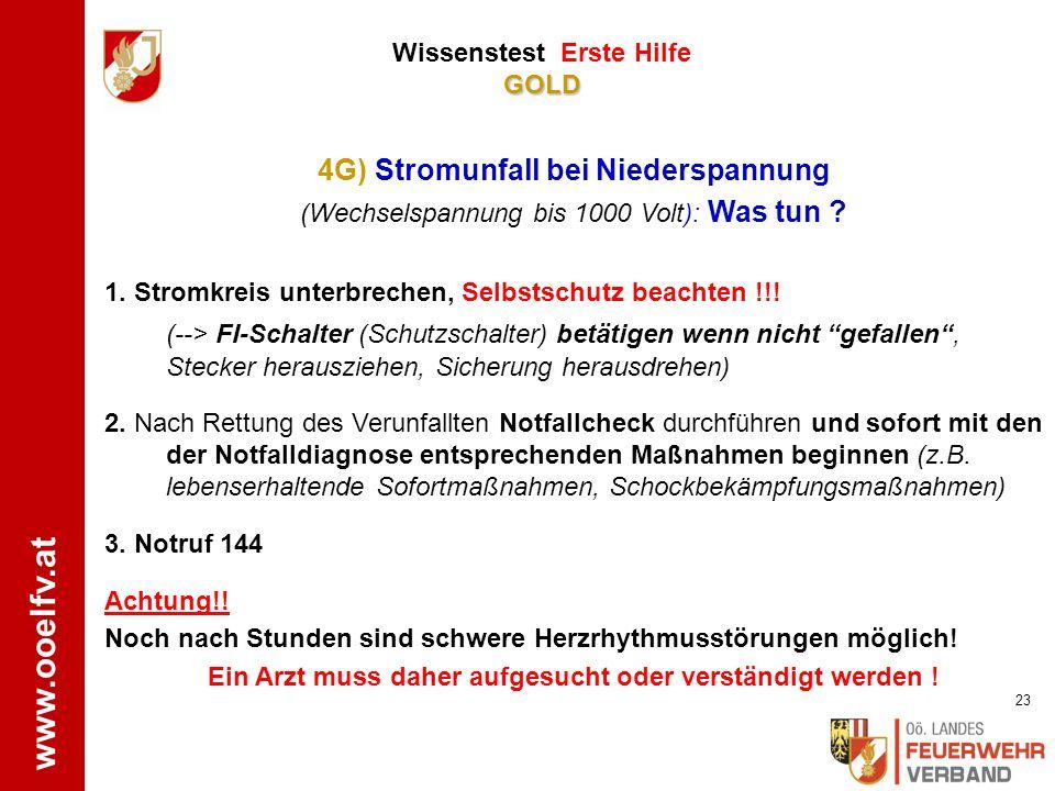 www.ooelfv.at GOLD Wissenstest Erste Hilfe GOLD Notruf 144 Mund ausspülen (Wasser NICHT schlucken!!) Mundbereich abwaschen Bei Bedarf weitere Schockbe