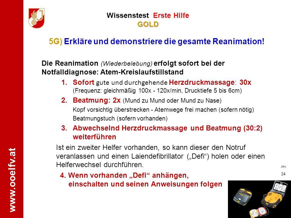 www.ooelfv.at GOLD Wissenstest Erste Hilfe GOLD 1. Stromkreis unterbrechen, Selbstschutz beachten !!! (--> FI-Schalter (Schutzschalter) betätigen wenn
