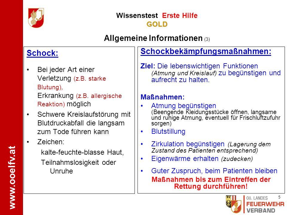 www.ooelfv.at Lebensrettende Sofortmaßnahmen: Herzdruckmassage, Beatmung, Defibrillation Gefahrenzone Absichern/Retten GOLD Wissenstest Erste Hilfe GO