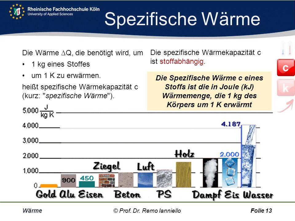 Quiz Spezifische Wärme Wärme© Prof. Dr. Remo IannielloFolie 12 Um ein kg Wasser um einen Grad Celsius oder ein Kelvin zu erwärmen, benötigt man die th