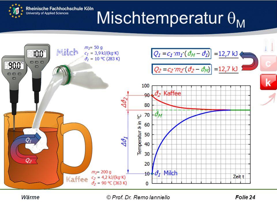 Mischtemperatur  M Wärme© Prof. Dr. Remo IannielloFolie 23 Der Ausgleich geht besonders schnell, wenn die Körper miteinander vermischt sind, wie z.B.