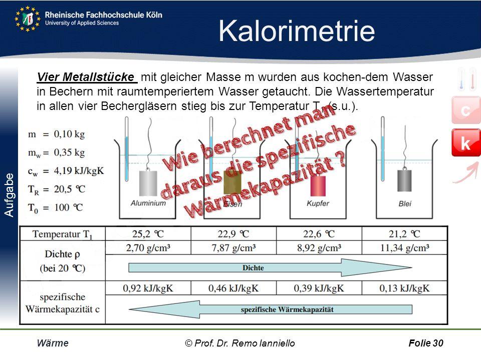 Kalorimeter Wärme© Prof. Dr. Remo IannielloFolie 29 Spezifischer Wärmen werden mit Kalorimetern gemessen. Ein Kalorimeter besteht aus einem wärme-isol