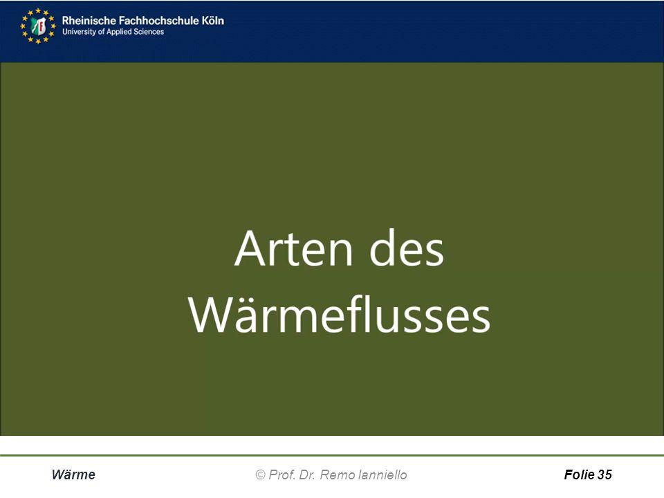 Wärme© Prof. Dr. Remo IannielloFolie 34 Wärmefluss