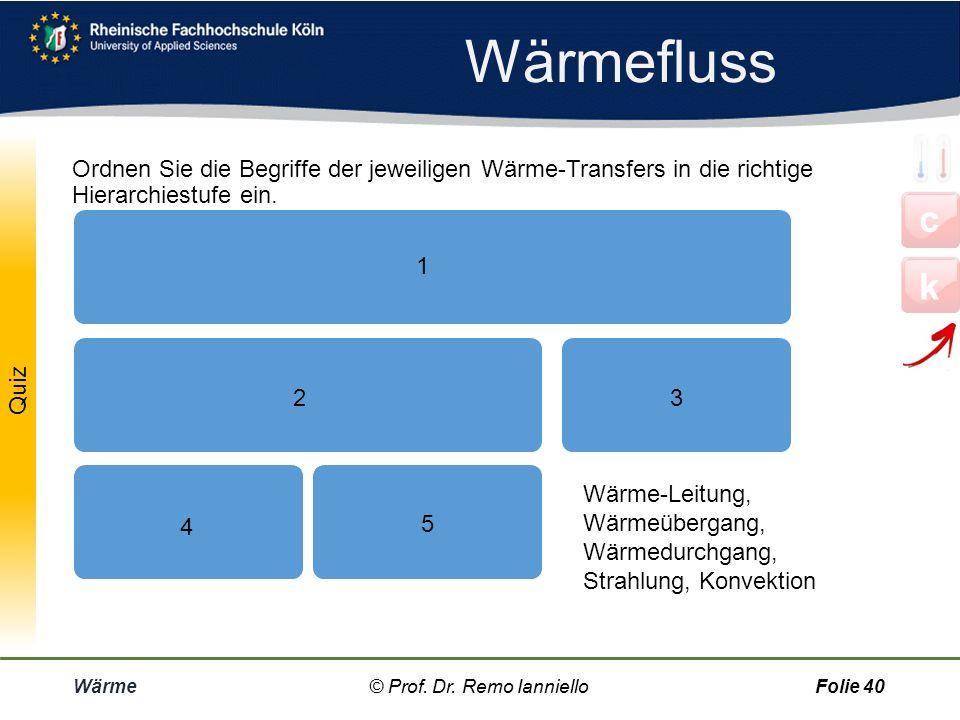 Wärmefluss Wärme© Prof. Dr. Remo IannielloFolie 39 Beispiel: An einer Hauswand erfolgt der Wärmeduchgang in drei Schritten: Wärmeübergang, (also Konve