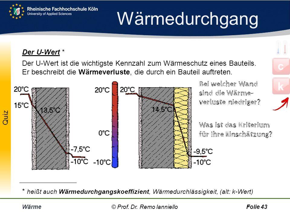 Wärme© Prof. Dr. Remo IannielloFolie 42 Wozu braucht man den U-Wert? Beispiel Definition: U-Wert © Prof. Dr. Remo Ianniello Um den Wärmefluss durch ei