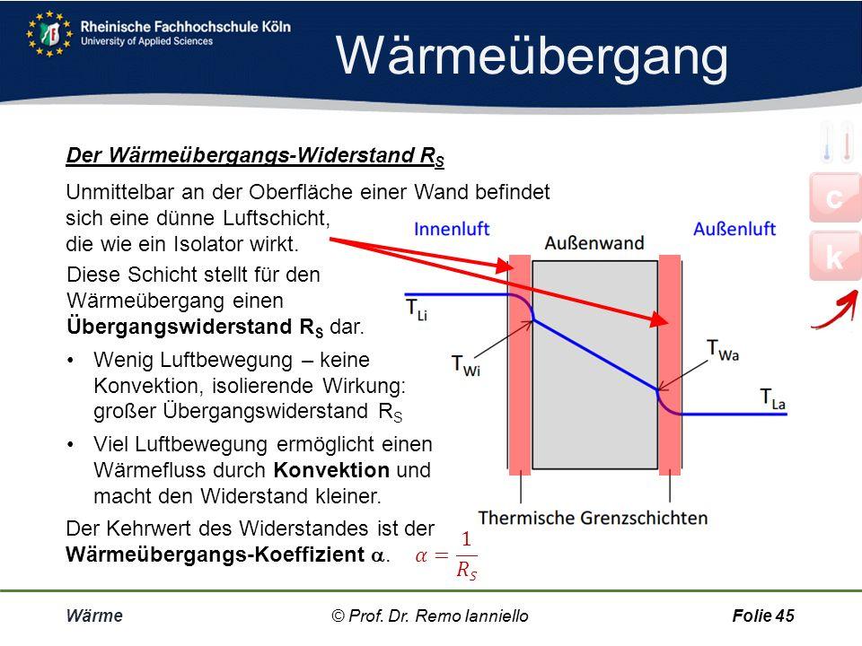 Quiz c k Wärme-X Wärme© Prof. Dr. Remo IannielloFolie 44 durch über leitung übergangs durchlass leit durchgangs- © Prof. Dr. Remo Ianniello