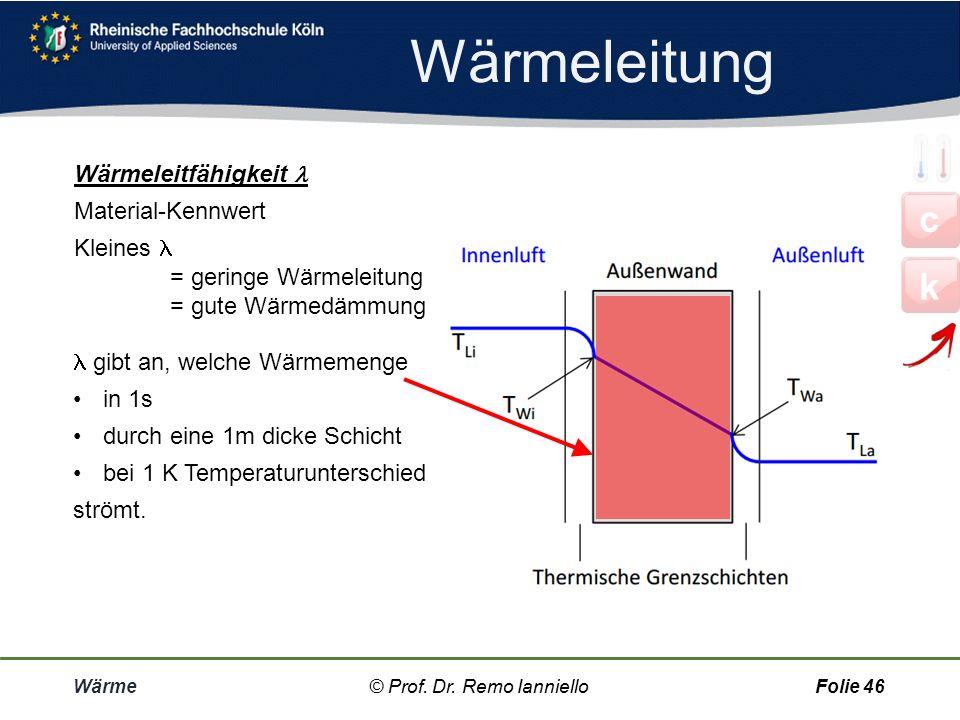 Wärmeübergang Wärme© Prof. Dr. Remo IannielloFolie 45 Der Wärmeübergangs-Widerstand R S Unmittelbar an der Oberfläche einer Wand befindet sich eine dü