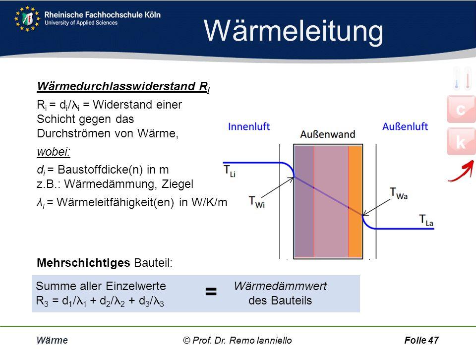 Wärmeleitung Wärme© Prof. Dr. Remo IannielloFolie 46 Wärmeleitfähigkeit Material-Kennwert Kleines = geringe Wärmeleitung = gute Wärmedämmung [ ] = J/s