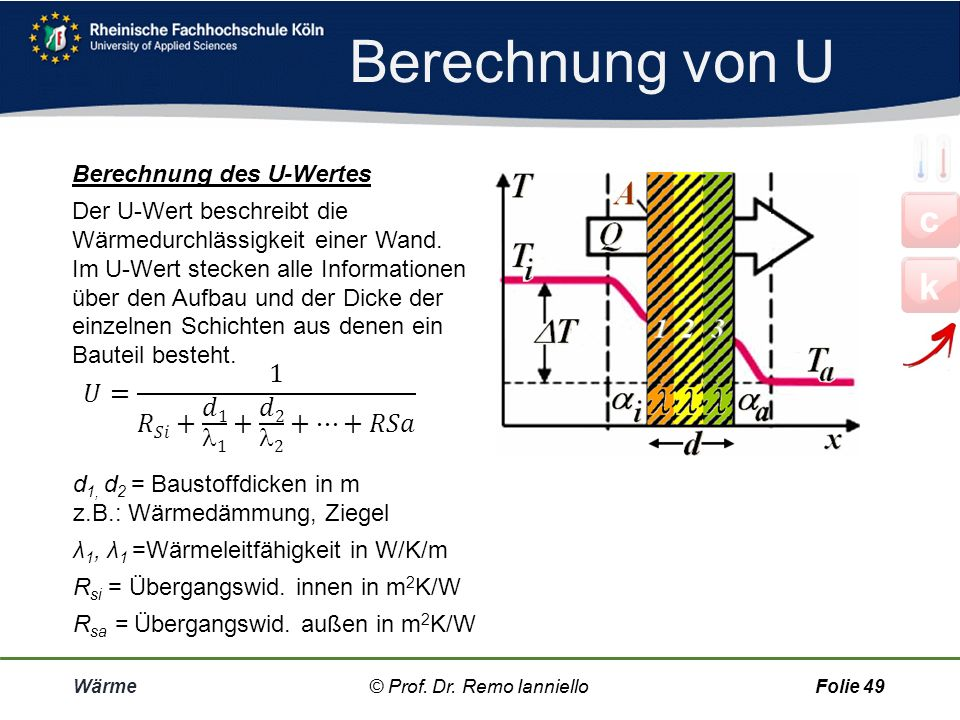Wärmedurchgang Wärme© Prof. Dr. Remo IannielloFolie 48 Wärmedurchgangswiderstand Statt der Einzelvorgänge werden Luft- und Wandschichten als ein einzi